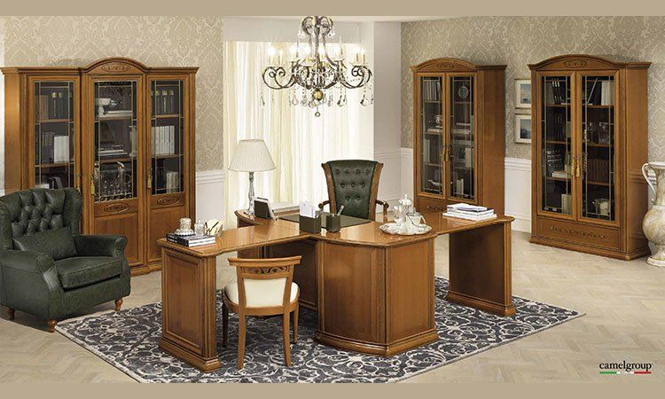 luxus b ro siena schrank glas t rig kirschbaum klassische stilm bel italien ebay. Black Bedroom Furniture Sets. Home Design Ideas