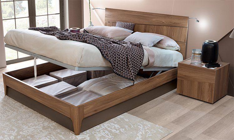 Details zu Modernes Bett 160x200 Bettkasten Stauraum Ulmenholz Struktur  Italienische Möbel