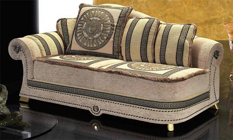 liege recamiere polster elegant meander medusa dekor schwarz gold aus italien ebay. Black Bedroom Furniture Sets. Home Design Ideas