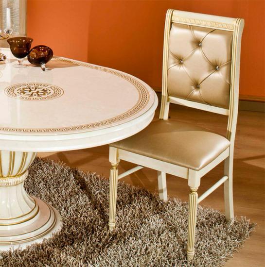 Esstisch rund ausz rossella beige gold wohnzimmer for Esstisch rund designklassiker