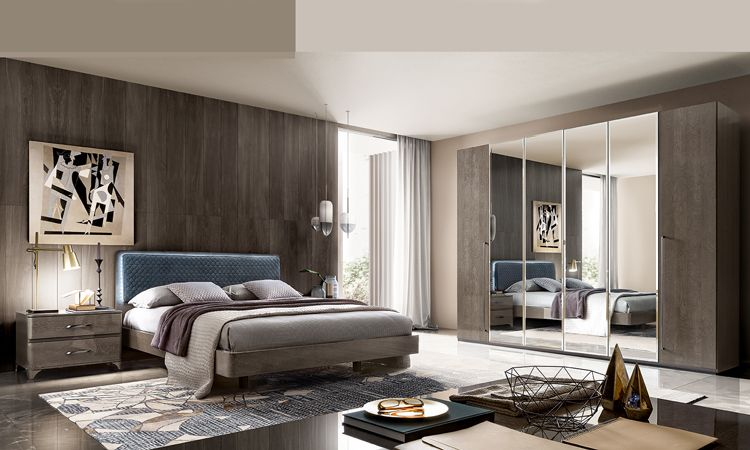 Schlafzimmer Maia Grau Hochglanz