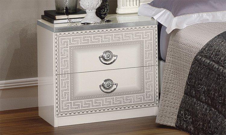 klassisches doppelbett hochglanz beige silber 160x200. Black Bedroom Furniture Sets. Home Design Ideas