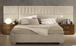 Doppelbett Moon 2 in Eco-Leder Beige