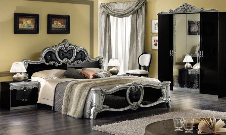schlafzimmer barocco schwarz silber. Black Bedroom Furniture Sets. Home Design Ideas