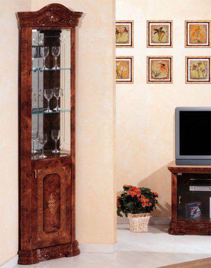 Klassische eckvitrine nussbaum hochglanz eckschrank glas for Klassische mobel ebay