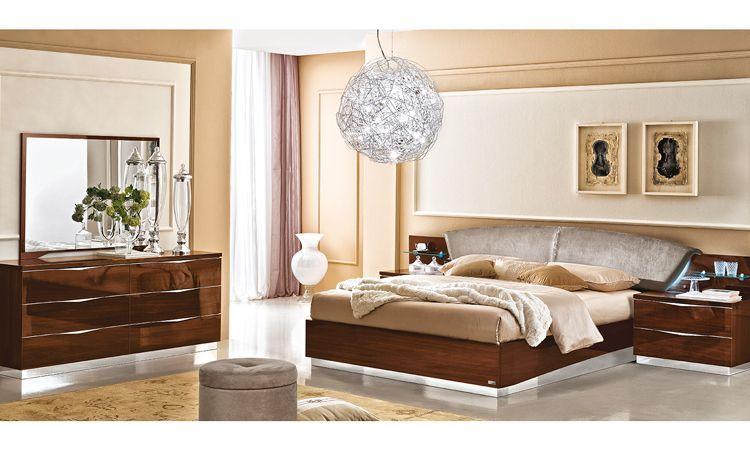 Schlafzimmer Onda Nussbaumfarbe Hochglanz online kaufen - SPELS MÖBEL