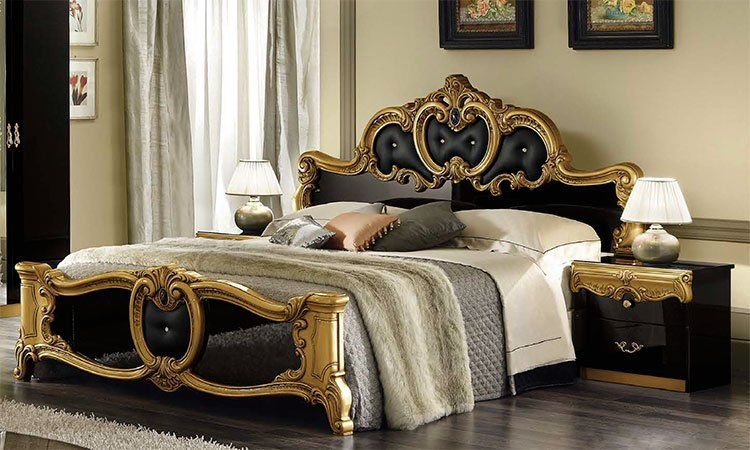 klassisches bett doppelbett 180x200 schwarz gold rokoko stilm bel aus italien ebay. Black Bedroom Furniture Sets. Home Design Ideas