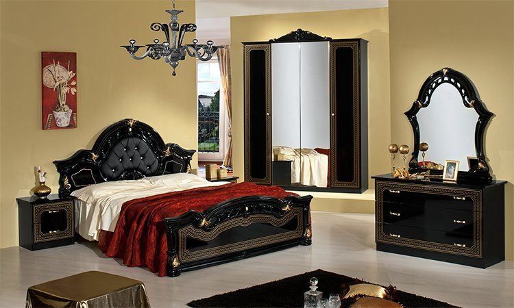 kleiderschrank bett nachttische spiegel schwarz gold glanz. Black Bedroom Furniture Sets. Home Design Ideas