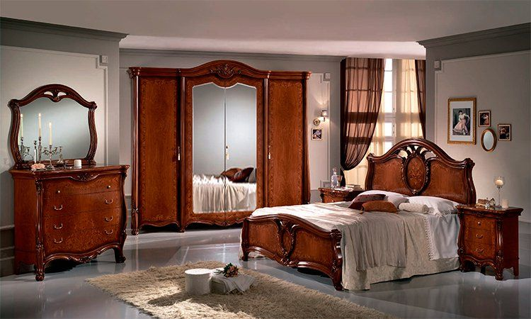 komplett klassisches italienisches schlafzimmer in nussbaum farbe matt lackiert ebay. Black Bedroom Furniture Sets. Home Design Ideas