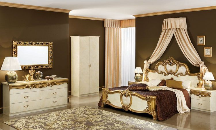 Schlafzimmer Barocco Beige-Gold Hochglanz