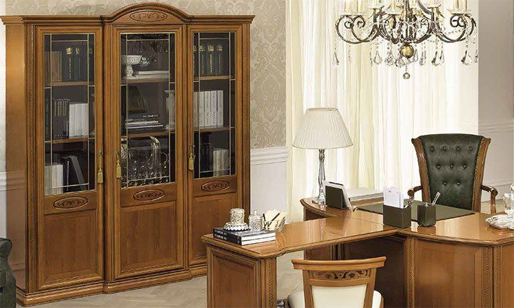 luxus b ro siena schrank glas t rig kirschbaum klassische. Black Bedroom Furniture Sets. Home Design Ideas