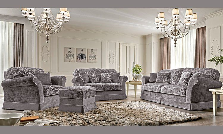 luxus sofa sessel 3 2 1 sitzer polster stoff klassische stil m bel italien ebay. Black Bedroom Furniture Sets. Home Design Ideas