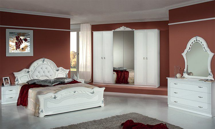 schlafzimmer komplett set wei silber hochglanz klassik stil m bel aus italien ebay. Black Bedroom Furniture Sets. Home Design Ideas