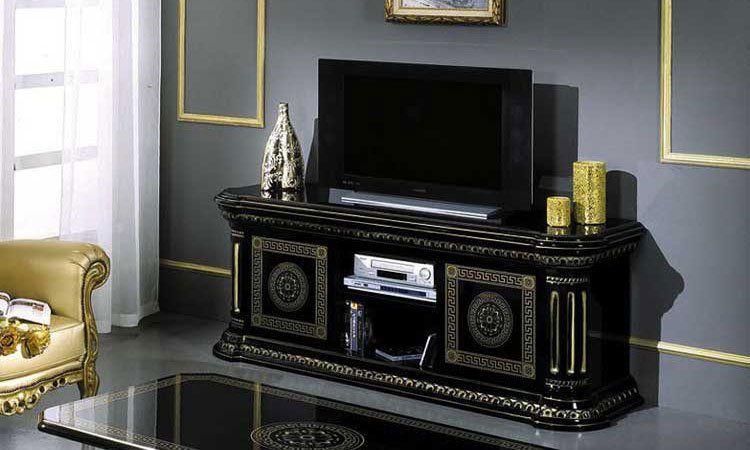 vitrine glasvitrine vitrinenschrank 4 t rig schwarz gold hochglanz m bel italien ebay. Black Bedroom Furniture Sets. Home Design Ideas