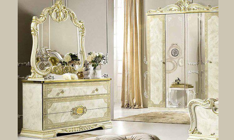 schlafzimmer komplett beige gold hochglanz stilm bel aus. Black Bedroom Furniture Sets. Home Design Ideas