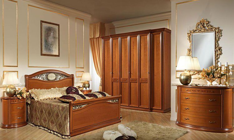 schlafzimmer set komplett kirschbaumholz schrank bett kommode nachttisch spiegel ebay. Black Bedroom Furniture Sets. Home Design Ideas