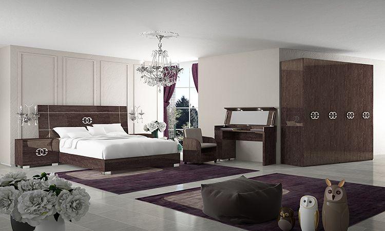 schlafzimmer komplett set 6 tl eiche braun italienische hochglanz m bel modern ebay. Black Bedroom Furniture Sets. Home Design Ideas