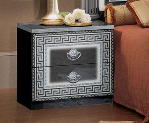 gro e kommode herrenkommode 6x schubladen schwarz silber. Black Bedroom Furniture Sets. Home Design Ideas