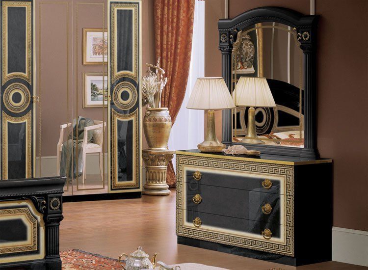 luxus schlafzimmer aida schwarz gold klassisches design. Black Bedroom Furniture Sets. Home Design Ideas