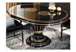 Esstisch rund ausziehbar schwarz  Luxus Esstisch Rossella Schwarz Gold Wohnzimmer Klassische ...