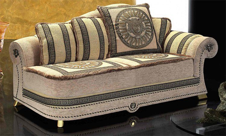 sofa couch 3 sitzer polster meander medusa dekor schwarz gold m bel aus italien ebay. Black Bedroom Furniture Sets. Home Design Ideas