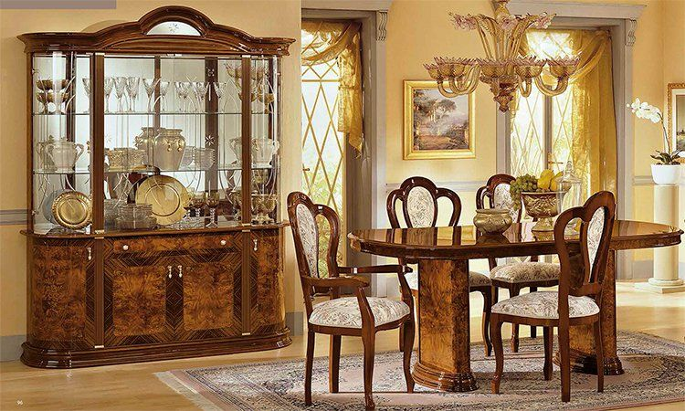 esstisch oval ausziehbar hochglanz klassische italienische stilm bel nussbaum ebay. Black Bedroom Furniture Sets. Home Design Ideas