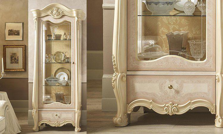 wohnzimmer tv wand zwei vitrinen tv schrank beige lackiert italienische m bel ebay. Black Bedroom Furniture Sets. Home Design Ideas
