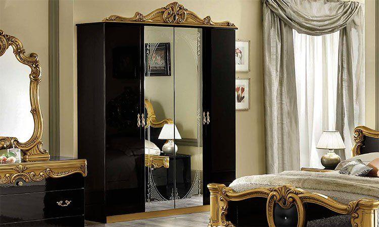klassisches bett doppelbett 180x200 schwarz gold rokoko. Black Bedroom Furniture Sets. Home Design Ideas