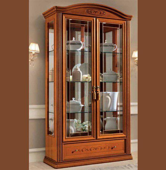 exlusive luxus vitrine 2 t rig kirschbaum furnier klassische stilm bel italia ebay. Black Bedroom Furniture Sets. Home Design Ideas