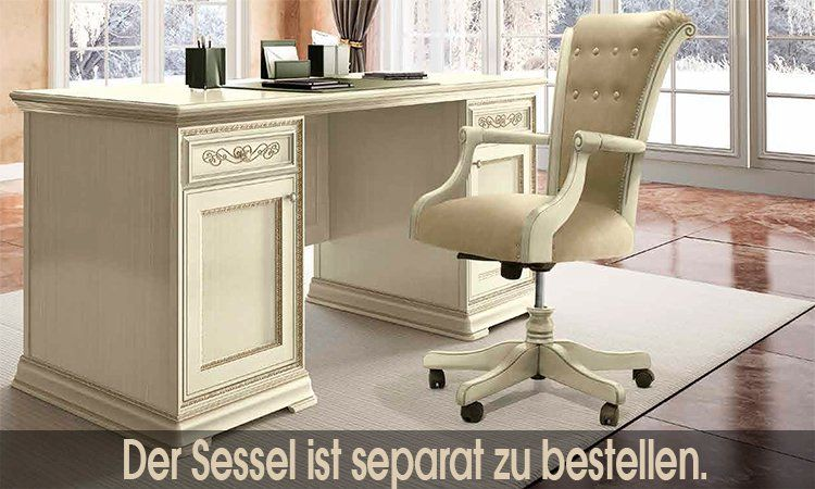 exklusiver b ro schreibtisch torriani in linde aus italy klassik ebay. Black Bedroom Furniture Sets. Home Design Ideas