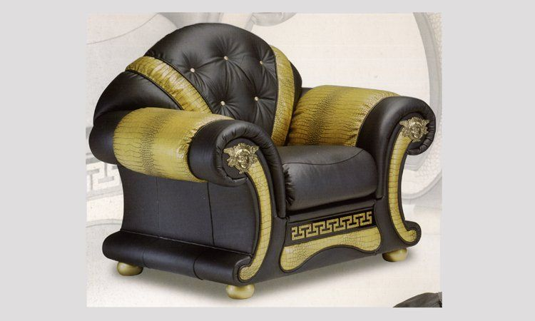 sessel echtleder schwarz meander decor gold medusa exclusive m bel aus italien ebay. Black Bedroom Furniture Sets. Home Design Ideas