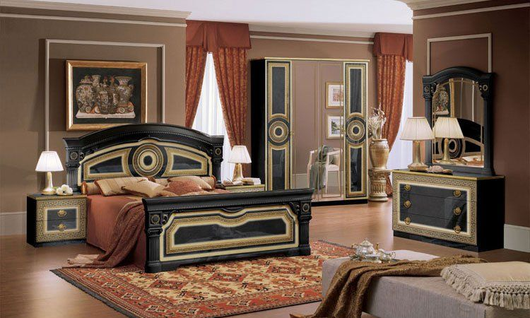 klassische italienische schlafzimmer schwarz gold in. Black Bedroom Furniture Sets. Home Design Ideas