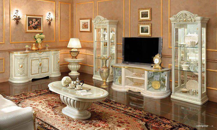 Exklusives Komplett Wohnzimmer Esszimmer Vitrine Anrichte Gold ...