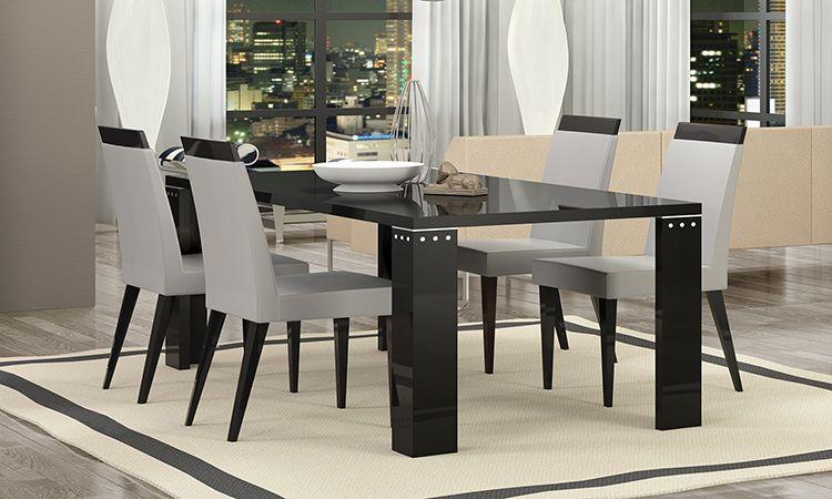 wohnzimmer esszimmer komplett set vitrine anrichte esstisch st hle schwarz glanz ebay. Black Bedroom Furniture Sets. Home Design Ideas