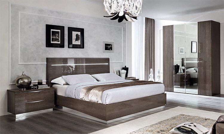 Schlafzimmer Platinum Grau Hochglanz