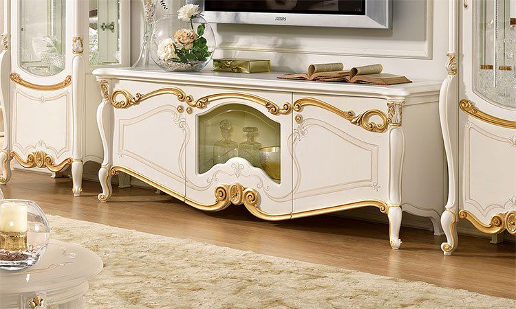 luxus tv unterschrank wohnzimmer la fenice beige gold italienische klassik ebay. Black Bedroom Furniture Sets. Home Design Ideas