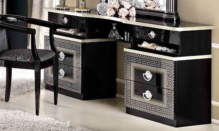 frisiertisch schminktisch damenkommode mit aufsatz schwarz. Black Bedroom Furniture Sets. Home Design Ideas