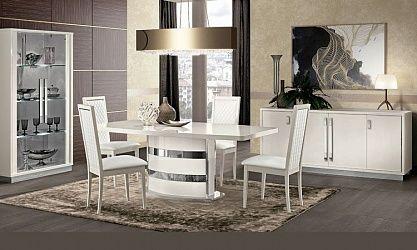 Ordinaire Wohnzimmer Esszimmer Roma Slim Weiß Hochglanz   Modern