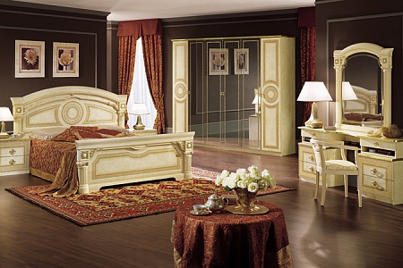 schlafzimmer komplett set barocco beige gold hochglanz stilm bel aus italien. Black Bedroom Furniture Sets. Home Design Ideas