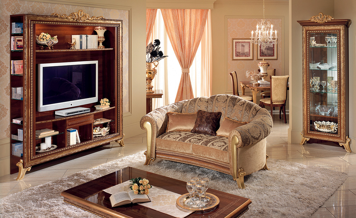 klassischer 3 sitzer couch sofa polster gold farbe italienische stilm bel ebay. Black Bedroom Furniture Sets. Home Design Ideas