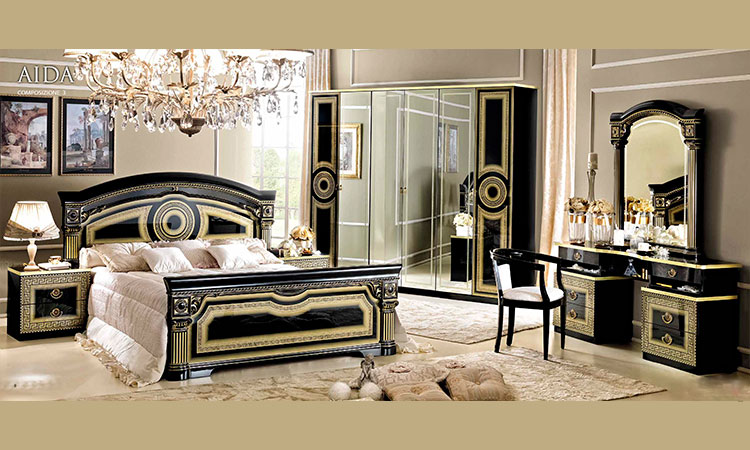 klassische italienische schlafzimmer schwarz gold in hochglanz aida camelgroup ebay. Black Bedroom Furniture Sets. Home Design Ideas