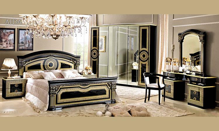 klassische italienische schlafzimmer schwarz gold in. Black Bedroom Furniture Sets. Home Design Ideas