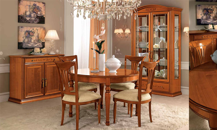 esstisch ausziehbar gro siena day kirschbaum holzfurnier klassisch italien ebay. Black Bedroom Furniture Sets. Home Design Ideas
