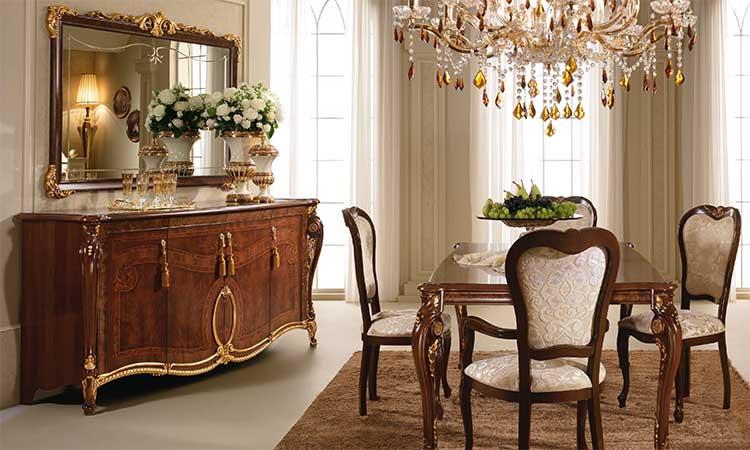 anrichte sideboard gro nussbaum matt lackiert gold dekor italienische m bel ebay. Black Bedroom Furniture Sets. Home Design Ideas