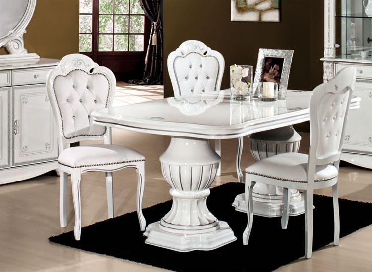 Wohnzimmer Set Speisezimmer Esszimmer Komplett Weiß Hochglanz ...