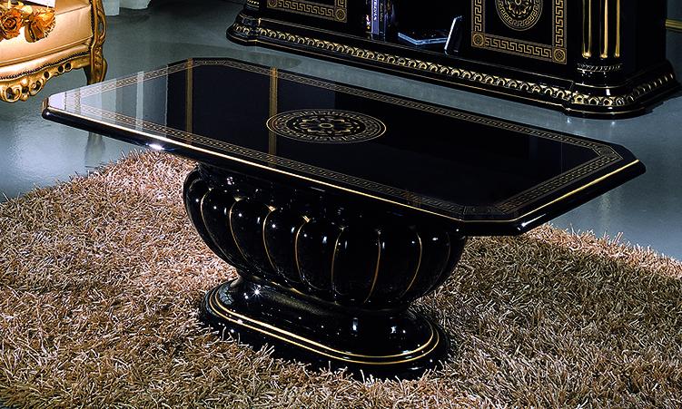 Esstisch rund ausziehbar 115 160 cm 6 pers schwarz gold for Esstisch rund designklassiker
