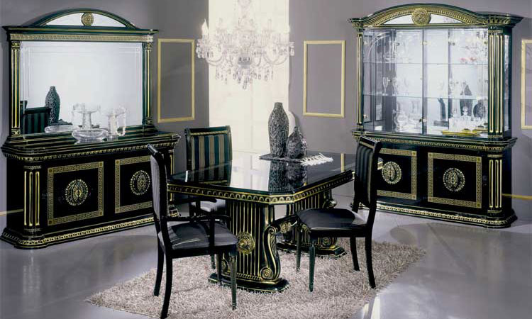 vitrine glasvitrine vitrinenschrank 4 t rig schwarz gold hochglanz m bel italien ebay. Black Bedroom Furniture Sets. Home Design Ideas