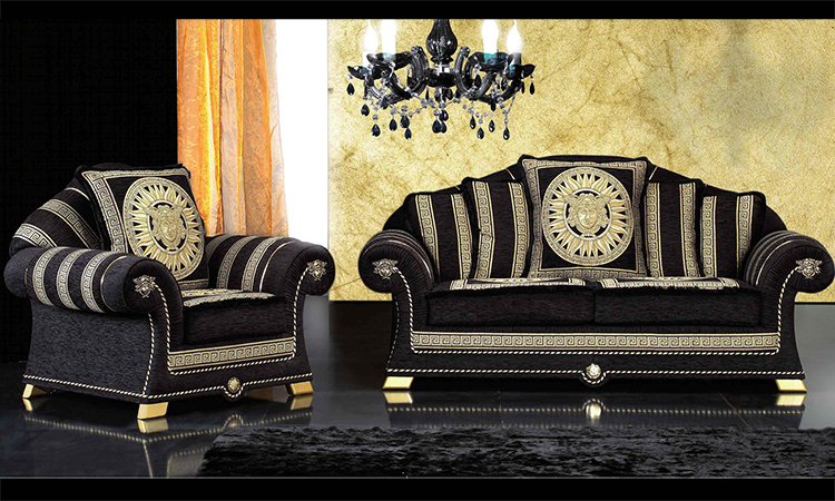sofa couch 2 sitzer polster meander medusa dekor schwarz gold aus italien ebay. Black Bedroom Furniture Sets. Home Design Ideas