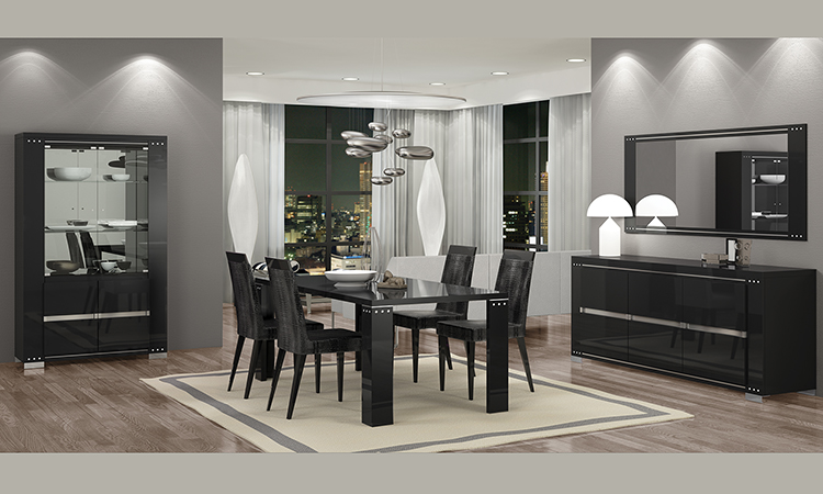 moderner esstisch rechteckig kristallsteine schwarz hochglanz italienische m bel ebay. Black Bedroom Furniture Sets. Home Design Ideas