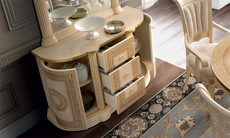 Esstisch oval ausziehbar 185 45 beige gold hochglanz stilm bel aus italien ebay - Stilmobel italien ...
